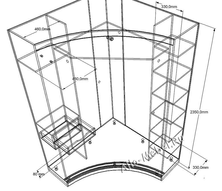 Встроенный угловой шкаф своими руками чертежи и схемы 296